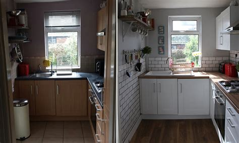 small kitchen makeover before and after a tiny kitchen makeover before after make do and mend