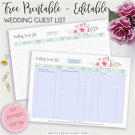 how to set up a wedding guest list in excel free editable printable wedding guest list amistyle digital