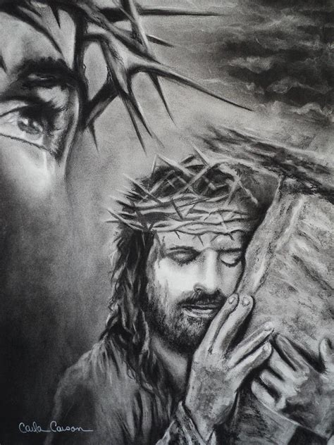 Black And White Drawings Of Jesus by Drawing By Carla Carson