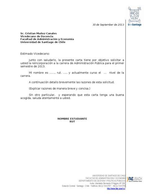 carta formal universidad formato carta solicitud de reincorporacion