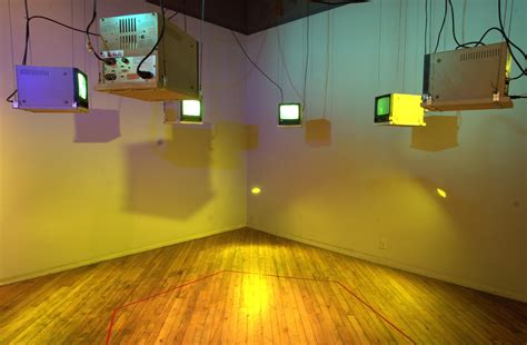 Tv Hanging From Ceiling by Six Television Receivers Hanging From The Ceiling In A