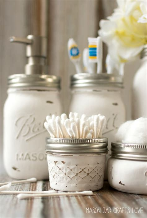 bathroom glass storage jars 16 diy shabby chic decor ideas