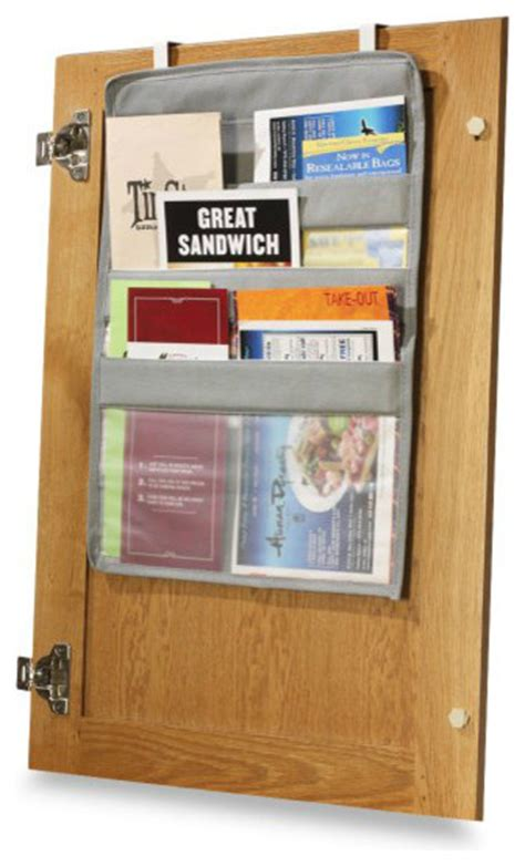 kitchen cabinet door organizers over the cabinet door coupon pockets eclectic pantry
