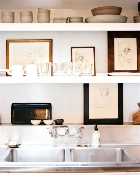 decorate open shelves with art home decorating trends