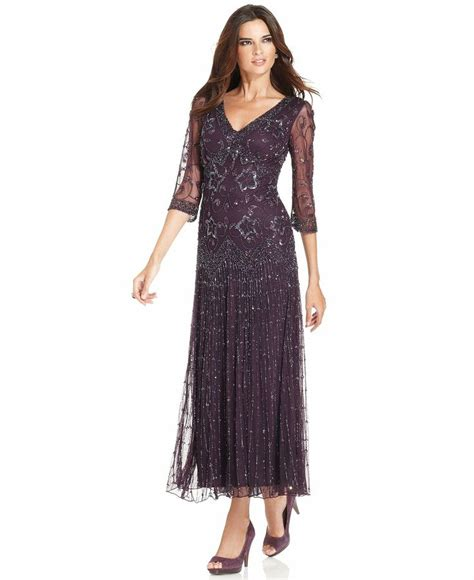 pisarro beaded dress pisarro nights dress three quarter sleeve beaded gown