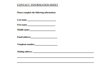 5 contact info templates formats, examples in word excel