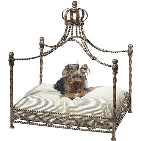 dog canopy bed antique gold iron metal crown house kennel dog puppy cat