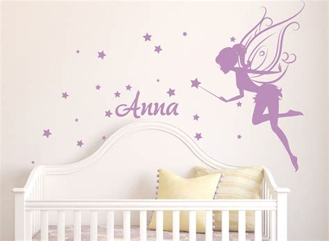 Flower Fairies Wall Stickers baby girl room decor fairy wall decal w blowing stars wand
