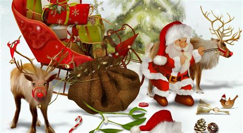 santa claus reindeer gifts bag christmas tree bumps