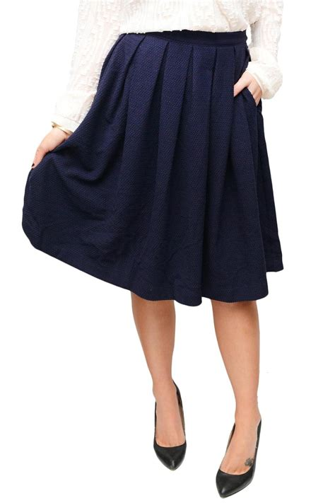 comme toi navy pleated skirt from seattle by simply chic