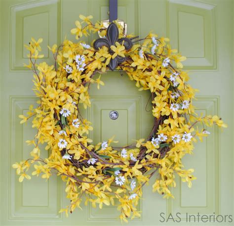 how to make a spring wreath for front door whimsical spring forsythia wreath jenna burger