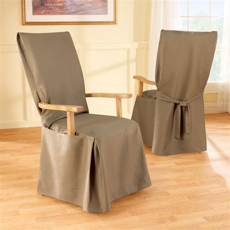 Dining Arm Chair Covers Sure Fit Cotton Duck Arm Dining Room Chair Cover At Hayneedle