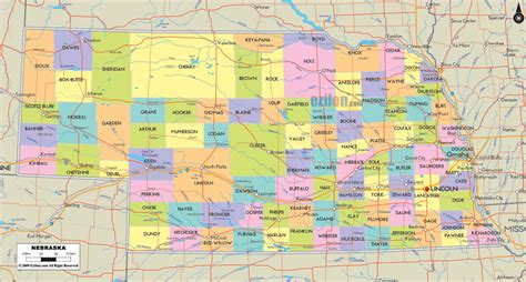 nebraska county map political map of nebraska ezilon maps