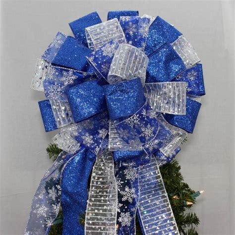 blue christmas tree bows royal blue silver snowflake tree topper bow package bows