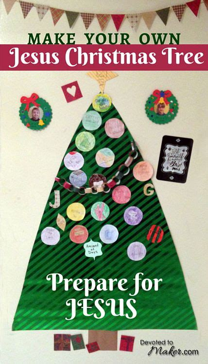 diy jesus christmas tree with names of jesus ornaments