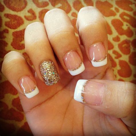 white gold with glitter tips nails white and gold nail designs a simple but powerful combo