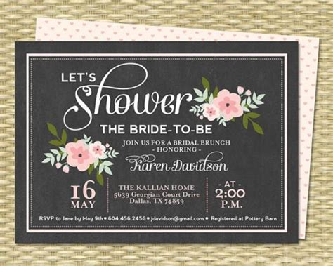 chalkboard style bridal shower invitations bridal brunch invitation chalkboard floral bridal shower invitation bridal tea baby shower pink