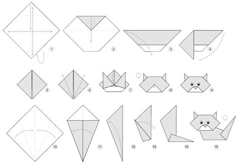 Origami Cat Diagram - printable origami for search results