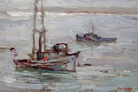 fishing boats monterey bay si chen yuan 1911 1974 quot the silent bay quot monterey bay