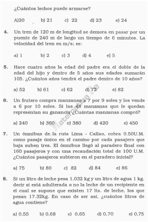 preguntas matematicas del milenio cuatro operaciones problemas resueltos de aritmetica