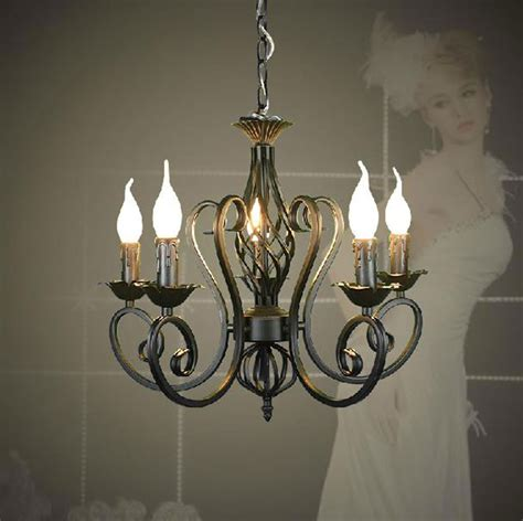 Wrought Iron Candle Chandeliers Lustres Wrought Iron Chandelier E14 Candle Light Black Industrial Home Luminaire Lava Ls As