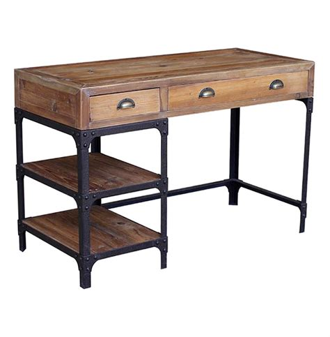 Industrial Office Desks Luca Reclaimed Wood Rustic Iron Industrial Loft Desk Kathy Kuo Home