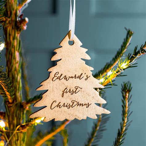 personalised gold first christmas tree decoration by