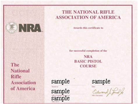 nra certificate template connecticut pistol permit safety course