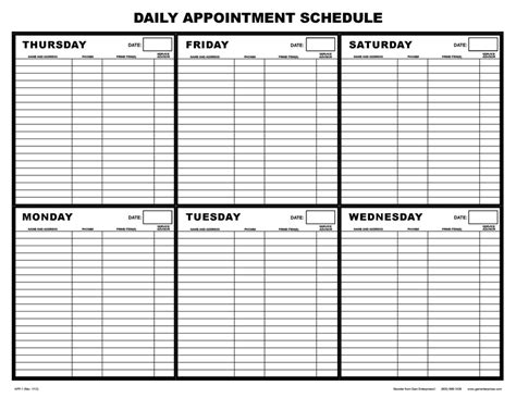 App 1 Daily Appointment Schedule Daily Appointment Template