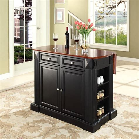 small kitchen islands drop leaf breakfast bar top kitchen island in white efurniture coventry black drop leaf breakfast bar top kitchen island