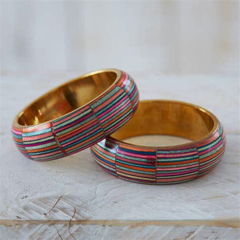 Fair Trade Handmade - dhari fair trade handmade stripy bangle by paper high