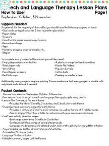 lesson plan template for speech therapy speech and language therapy lesson plans for back to