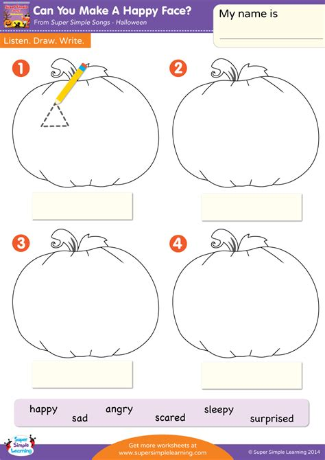 make a worksheet can you make a happy worksheet listen draw