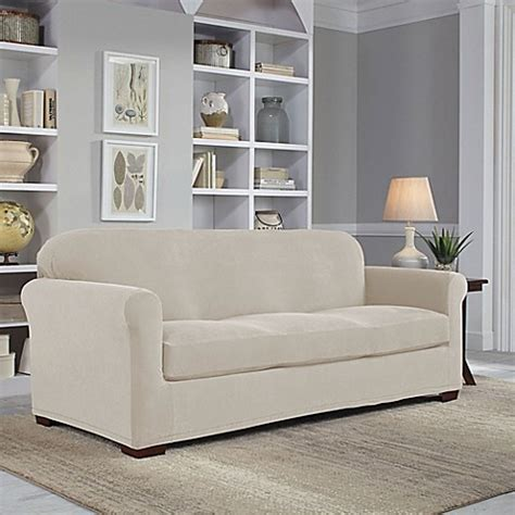 2 slipcovers for sofas fit 174 easy fit 2 sofa slipcover bed bath beyond