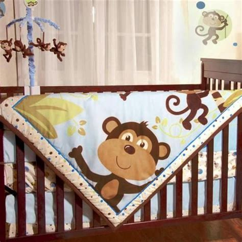 Monkey Crib Bedding Sets For Boys Jungle Safari Brown Monkeys Baby Boys 4pc Animal Themed Nursery Crib Bedding Set Baby
