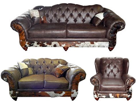 Cowhide Living Room Furniture by Furniture Chestnut Rustic Living Room Set With