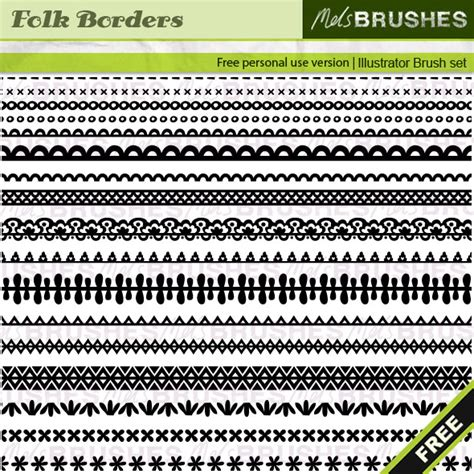 adobe illustrator pattern brush free folk border illustrator brushes get them here http
