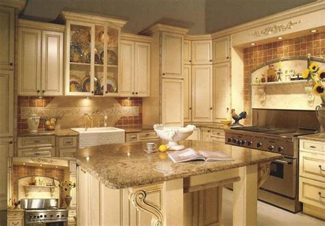antiqued white painted cabinets traditional kitchen