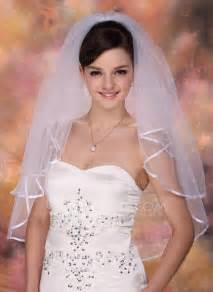 wedding veils two tier bridal veils with ribbon edge 006005419 jjshouse