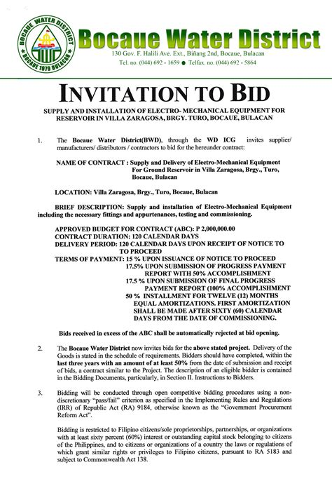 to bid invitation to bid bocaue water district