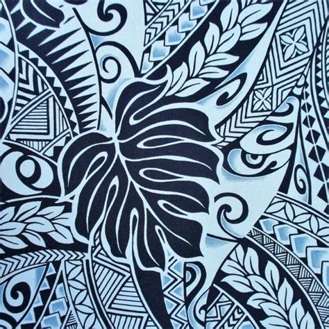fabric polynesian tattoo tapa designs  blue monstera