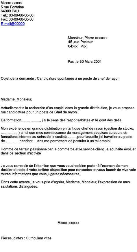 Lettre De Motivation Chef De Zone Candidature Spontan 233 E 224 Un Poste De Chef De Rayon