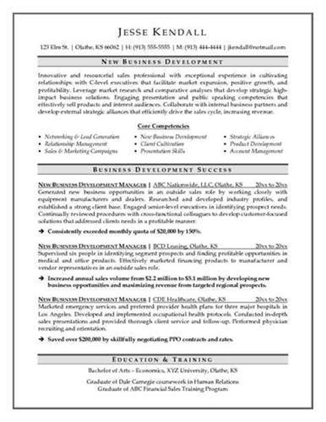 business development resume exle