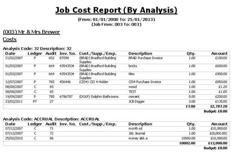 Construction Job Cost Report Template construction industry accounts cia software reports