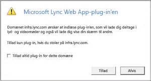 install lync web app plug in problems problemer med at installere plug in en lync