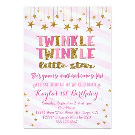 twinkle twinkle card templates twinkle twinkle invitation pink zazzle