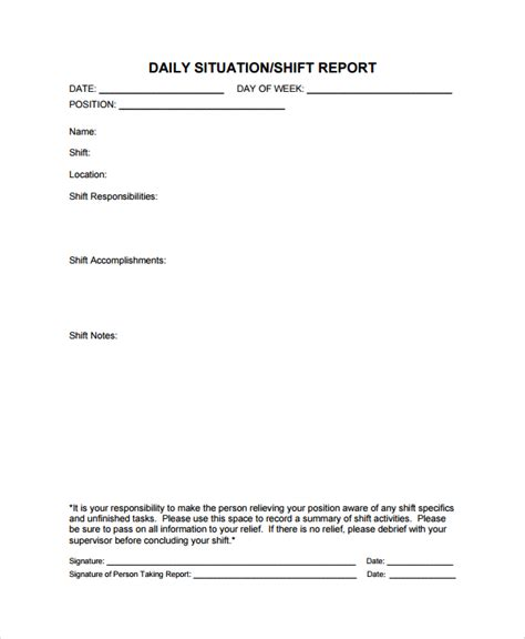 Production End Of Shift Report Template Image Gallery Shift Report