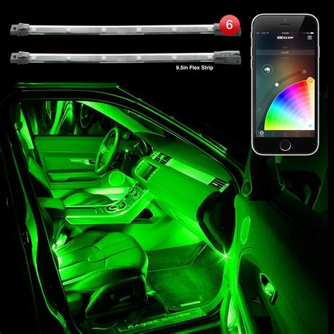 6pc 10 Quot Flexible Strip Car Interior Grill Xkchrome App Led Lighting For Cars