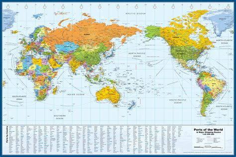 printable world map pacific centered world map with major ports timekeeperwatches