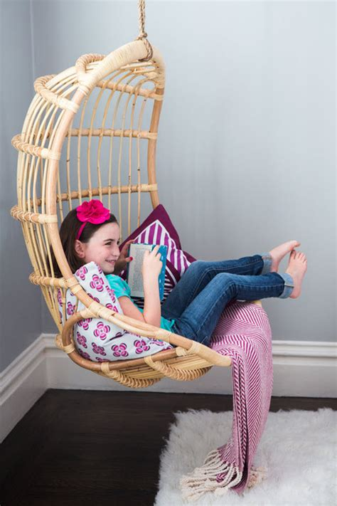 rattan hanging chair girls bedroom simplified bee